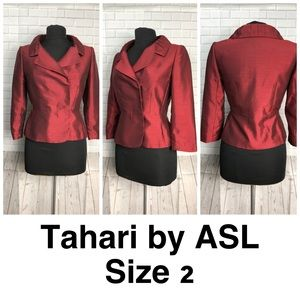 TAHARI BY ASL Metal Red Pleated Collar Blazer